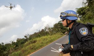 A Chinese UN peacekeeper operates a video drone during a patrol in Liberia. (file)