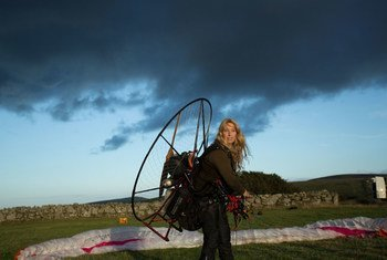 Sacha Dench prepares to follow Bewick's swans on their annual migration in 2016.