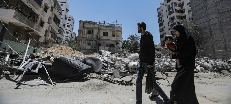 Une grande partie de la ville de Gaza a été endommagée à la suite des frappes aériennes israéliennes.