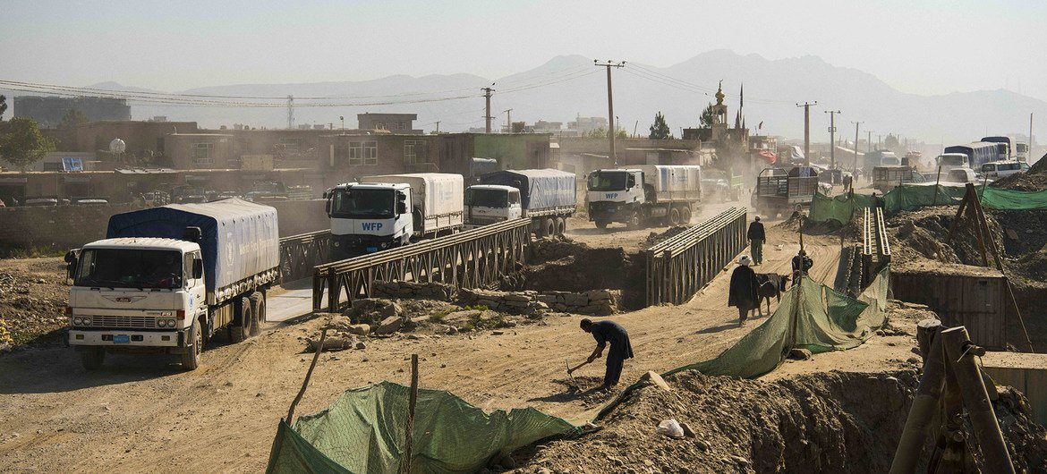 Trucks from the UN's World Food Programme permission  Kabul successful  May 2021 to present  nutrient  to susceptible  communities.