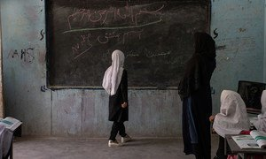 Students in grades 1 to 6 have restarted school in Herat, Afgahnistan, but girls in grades 7-12 have not been attending classes.
