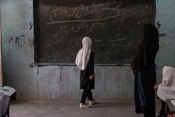 在阿富汗的赫拉特,1到6年级的学生已经重新开学,但7到12年级的女孩一直没有机会上课。