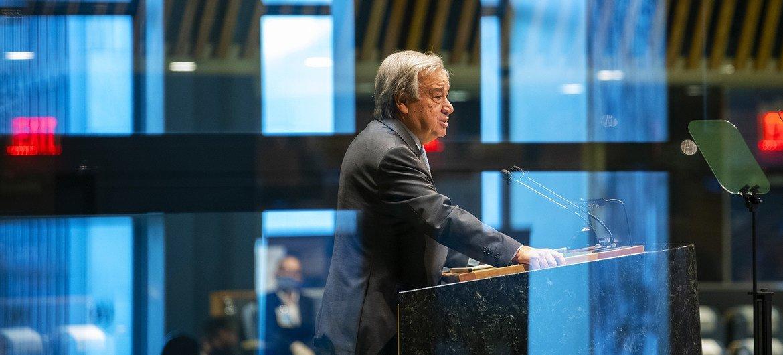 Guterres durante discurso na Assembleia Geral, na segunda-feira, dia 22 de setembro