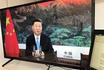 Le Président de la République populaire de Chine, Xi Jinping, intervient lors du débat général de la 75ème session de l'Assemblée générale des Nations Unies (archives).