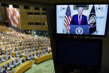 यूएन महासभा के 75वें सत्र को सम्बोधित करते हुए अमेरिकी राष्ट्रपति डॉनल्ड ट्रम्प.