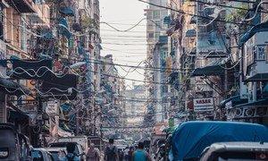 The Old Town of Yangon in Myanmar.