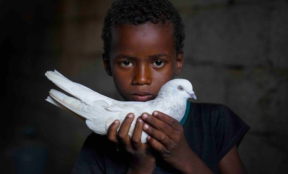 Abdullah, aged seven, has been displaced by the five-year-long conflict in Yemen.