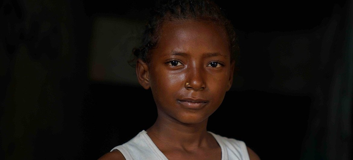 Hala, aged eleven, is the eldest of five daughters who have been displaced by war in Yemen.