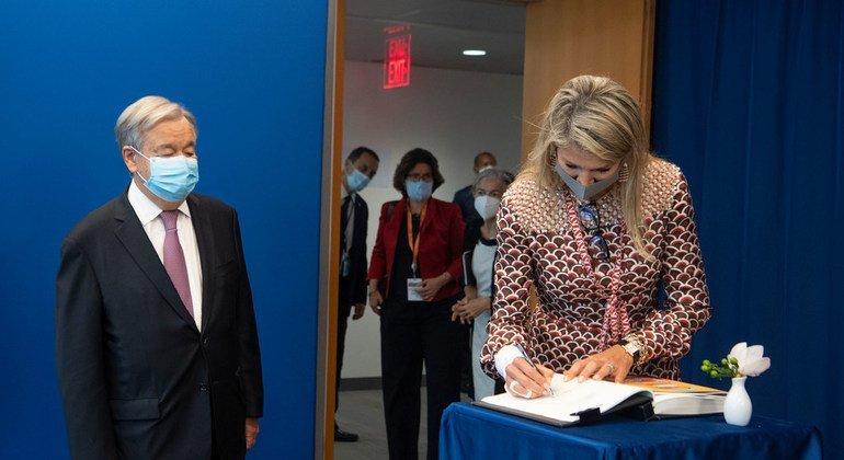UN Secretary-General António Guterres (left) meets with Queen Máxima of the Netherlands.