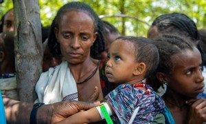A child is screened for malnutrition in Adikeh in Wajirat in Tigray, Ethiopia.