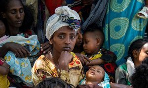A woman brings her child to a clinic in Wajirat in Southern Tigray in Ethiopia to be checked for malnutrition.