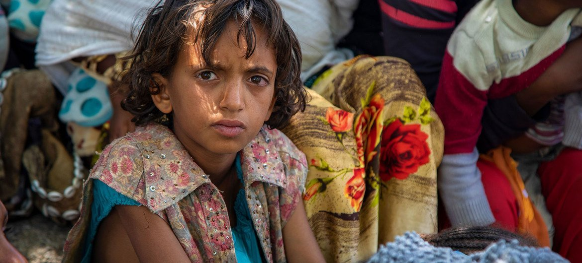 A child waits for a nutrition screening in Wajirat in southern Tigray in Ethiopia.