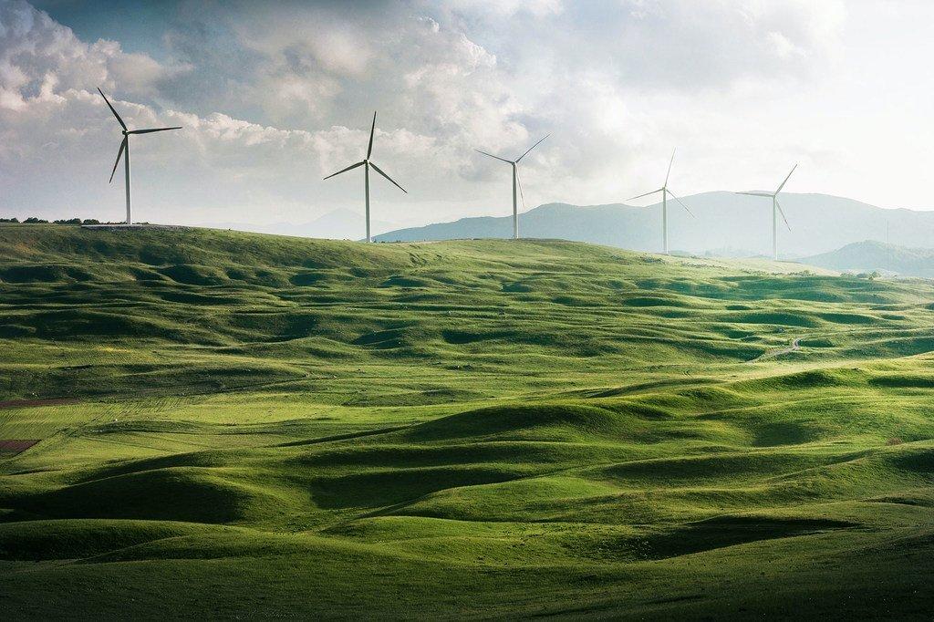 像风能一样,清洁能源是实现净零排放的关键要素。图为黑山的风电场。