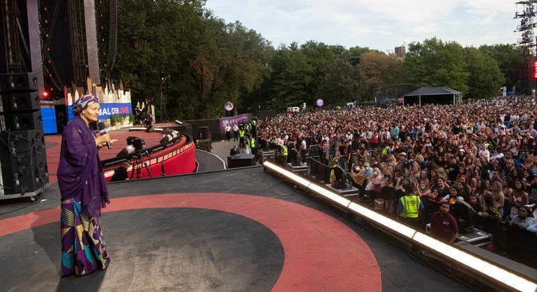 UN Deputy Secretary-General Amina Mohammed speaks at the Global Citizen Live event in Central Park in New York City.