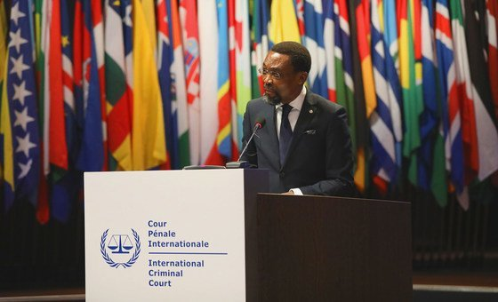 The ICC President, Chile Eboe-Osuji, addresses the Assembly of States Parties in The Hague, Netherlands in December 2019.
