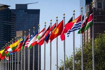 Bendera za mataifa mbalimbali wanachama wa Umoja wa Mataifa zikipepea nje ya makao makuu ya umoja huo jijini New York Marekani