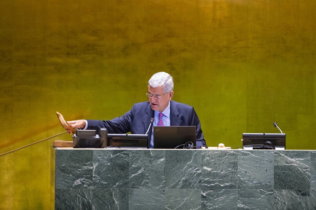 联合国大会第75届会议主席沃尔坎·博兹克尔主持第75届联合国大会一般性辩论。
