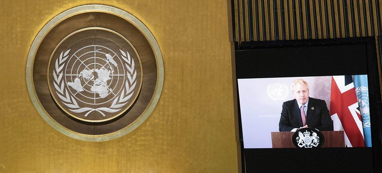 大不列颠及北爱尔兰联合王国首相鲍里斯·约翰逊在联合国大会第75届会议一般性辩论上讲话。