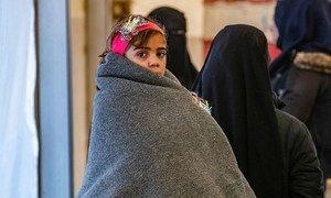 叙利亚东北部的霍尔难民营地中的儿童在严冬中缺乏足够的衣物。