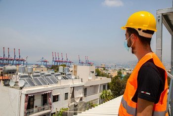 联合国开发计划署一直在支持贝鲁特的重建工作,包括安装太阳能电池板。