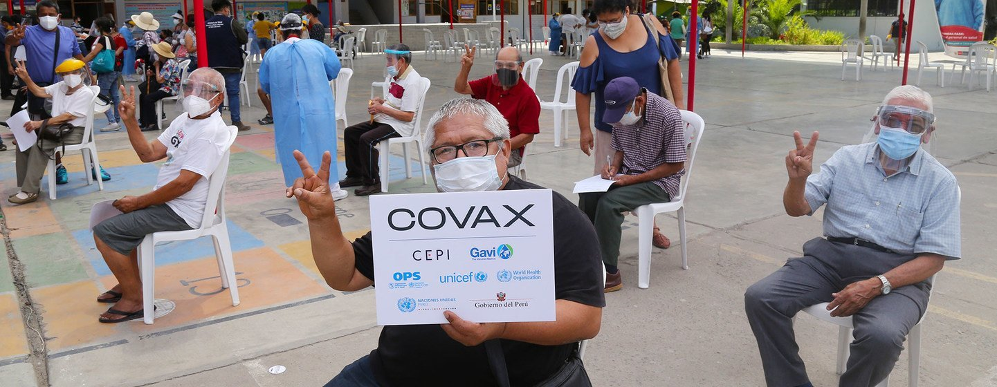 Older adults are amongst the first Peruvians to receive COVID-19 vaccines at a vaccination site in Lima, Peru.