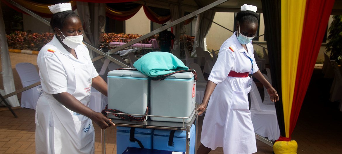 In Uganda, vaccines are being delivered to remote areas on foot, on boats and on motorbikes.