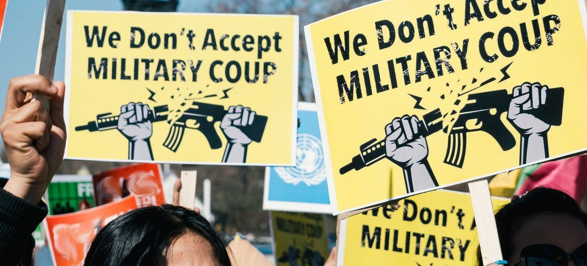 A demonstration against Myanmar's military coup takes place outside the White House in Washington, DC, USA.