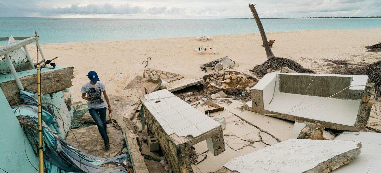 The aftermath of Hurricane Irma successful  Barbuda.