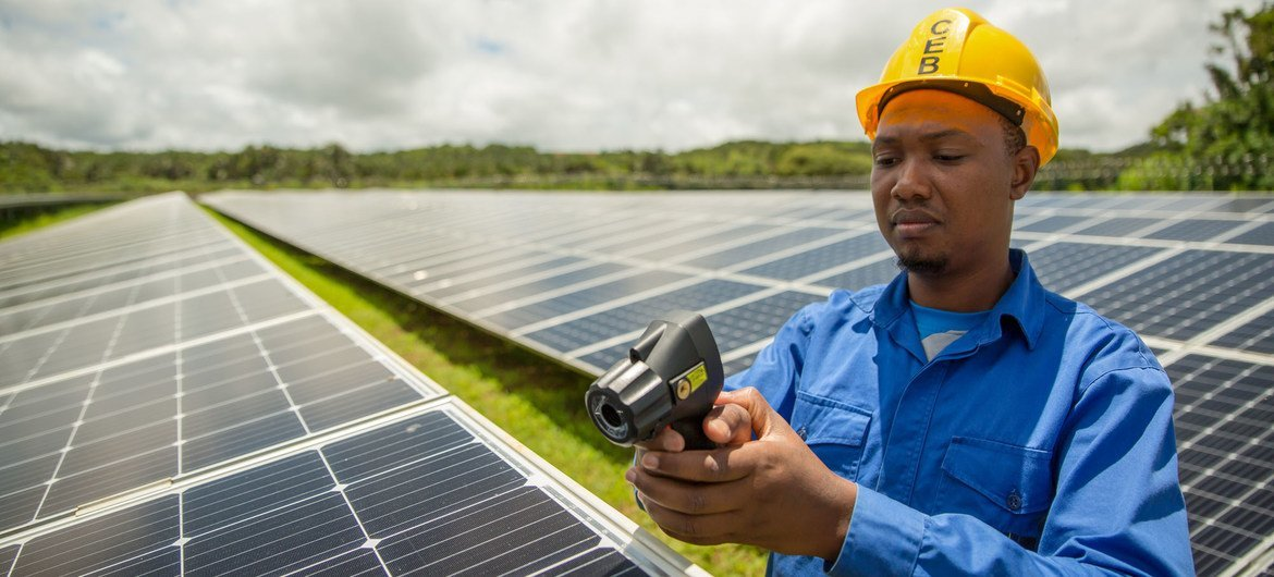 Solar panels are maintained astatine  a workplace  successful  Mauritius.