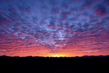 Sun sets in Madinah, Saudi Arabia.