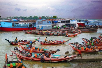 Boats leave from the shoreline of Myanmar. (file)