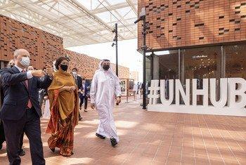 La Vice-secrétaire générale Amina Mohammed visite le centre des Nations Unies de l'Expo 2020 de Dubaï, aux Émirats arabes unis (EAU). La vice-secrétaire générale de l'ONU, Amina Mohammed, prononce le discours de la Journée de l'ONU.
