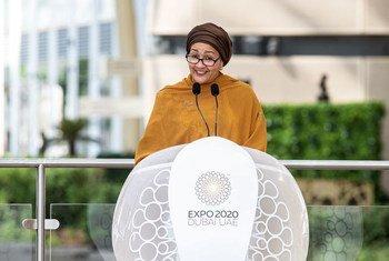 Vice-chefe da ONU, Amina Mohammed, esteve na Expo Dubai 2020 no dia das Nações Unidas
