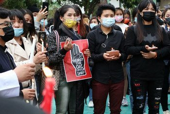 A vigil takes place in Macau, China, in support of the government of Myanmar, opposing the military coup.