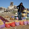 A young Libyan man sells fruits and vegetables in Old Town, Benghazi. (file)