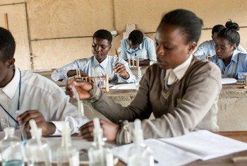 赞比亚的一所中学内的女生正在上化学实验课。