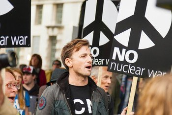 Manifestants au Royaume-Uni protestent contre les armes nucléaires (photo d'archives).
