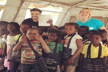 Ator Bruno Gagliasso e apresentadora de televisão Giovanna Ewbank do Brasil acompanham a ação do Fundo das Nações Unidas para a Infância, Unicef, nas cidades da Beira e Chimoio, em Moçambique.