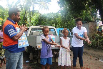 Conducting demonstration on hand-washing, at the Tebaku Community, in Port Vila, Vanuatu. UNICEF is supporting the Government COVID-19 preparedness and response plan for hygiene promotion.