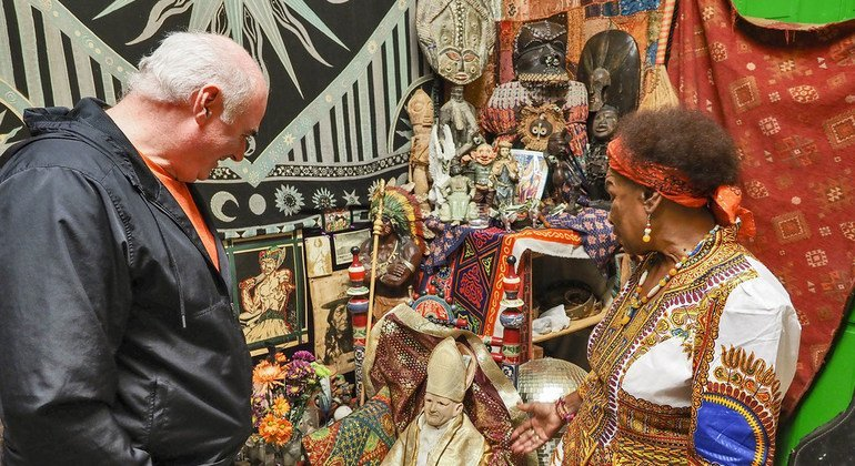The ILO's Kevin Cassidy speaks to the Voodoo Priestess, Miriam Chamani, in New Orleans.