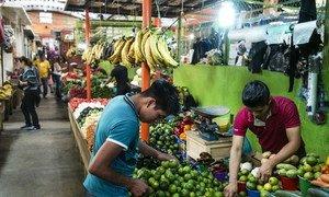 Este mercado en México vende verduras producidas por por los participantes en el Proyecto Estratégico de Seguridad Alimentaria de la FAO y la Secretaría de Agricultura, Ganadería, Desarrollo Rural, Pesca y Alimentación de México.