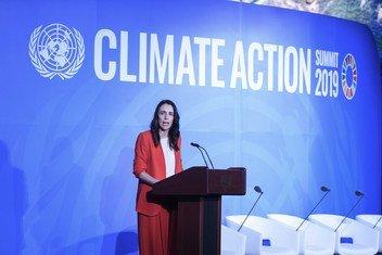 新西兰总理杰辛达·阿德恩(Jacinda Ardern)2019年9月在纽约联合国总部举行的气候行动峰会上发表讲话。