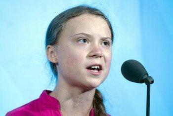 La activista juvenil Greta Thunberg se dirige a los líderes mundiales durante la Cumbre de Acción Climática en la sede de la ONU en Nueva York.
