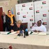 The UN High Commissioner for Human Rights Michelle Bachelet (l) and Sudan's Minister of Foreign Affairs Asma Mohamed Abdalla sign an agreement to open a UN Human Rights Office in Sudan.