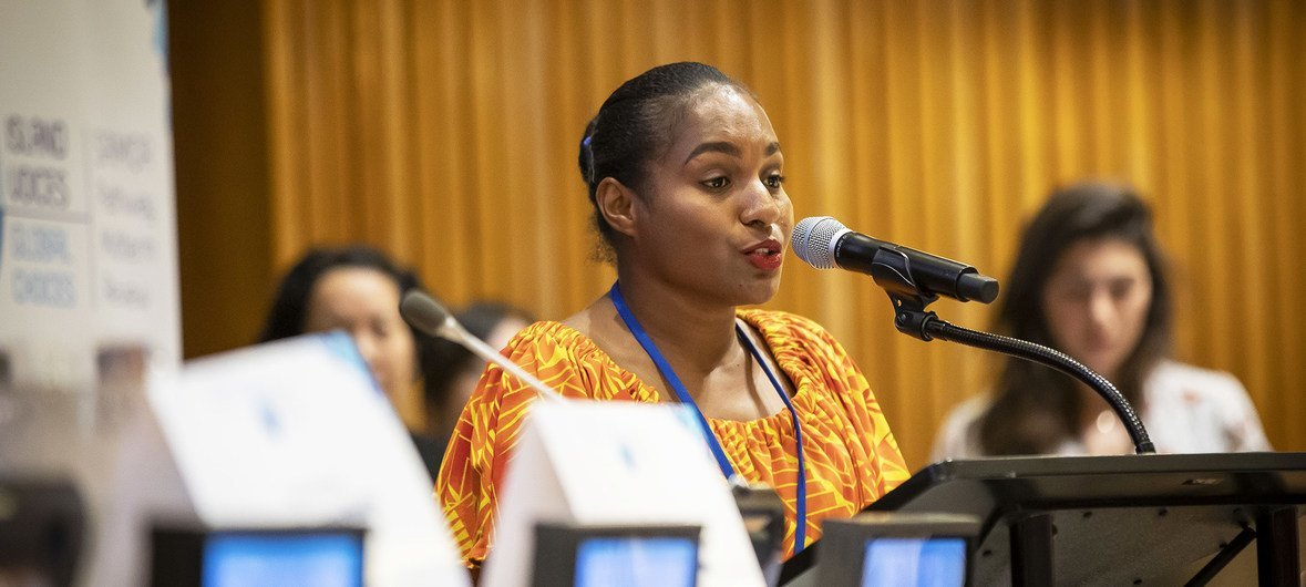 Vinzealhar Ainjo Kwangin Nen, a youth speaker from Papua New Guinea, addresses a meeting on Small Island Developing States at the United Nations in New York...
