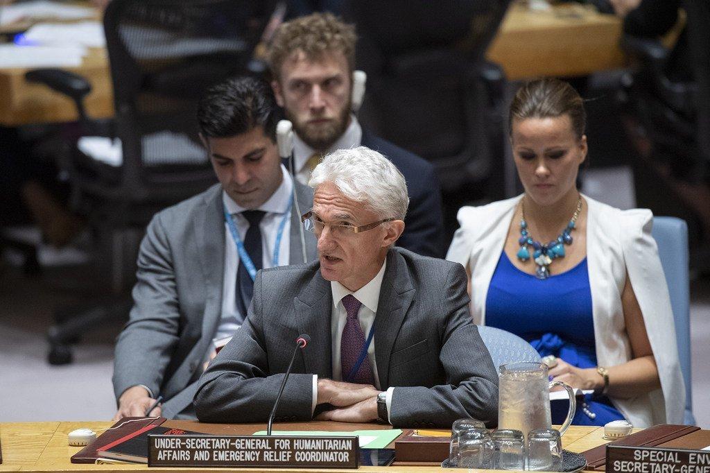 2019年8月29日,联合国主管人道主义事务的副秘书长马克·洛科克在联合国安理会发言。