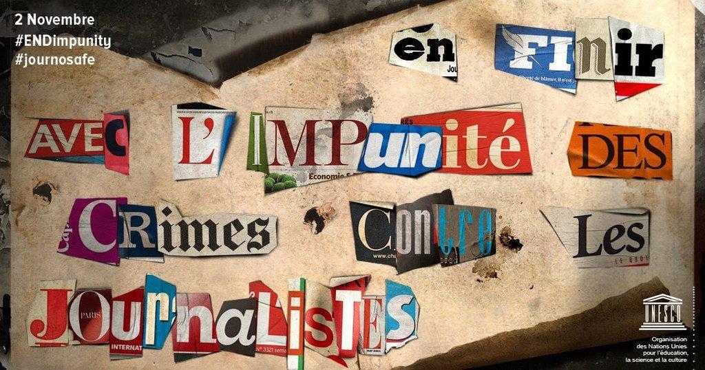 L'affiche de la Journée internationale de la fin de l'impunité pour les crimes commis contre des journalistes