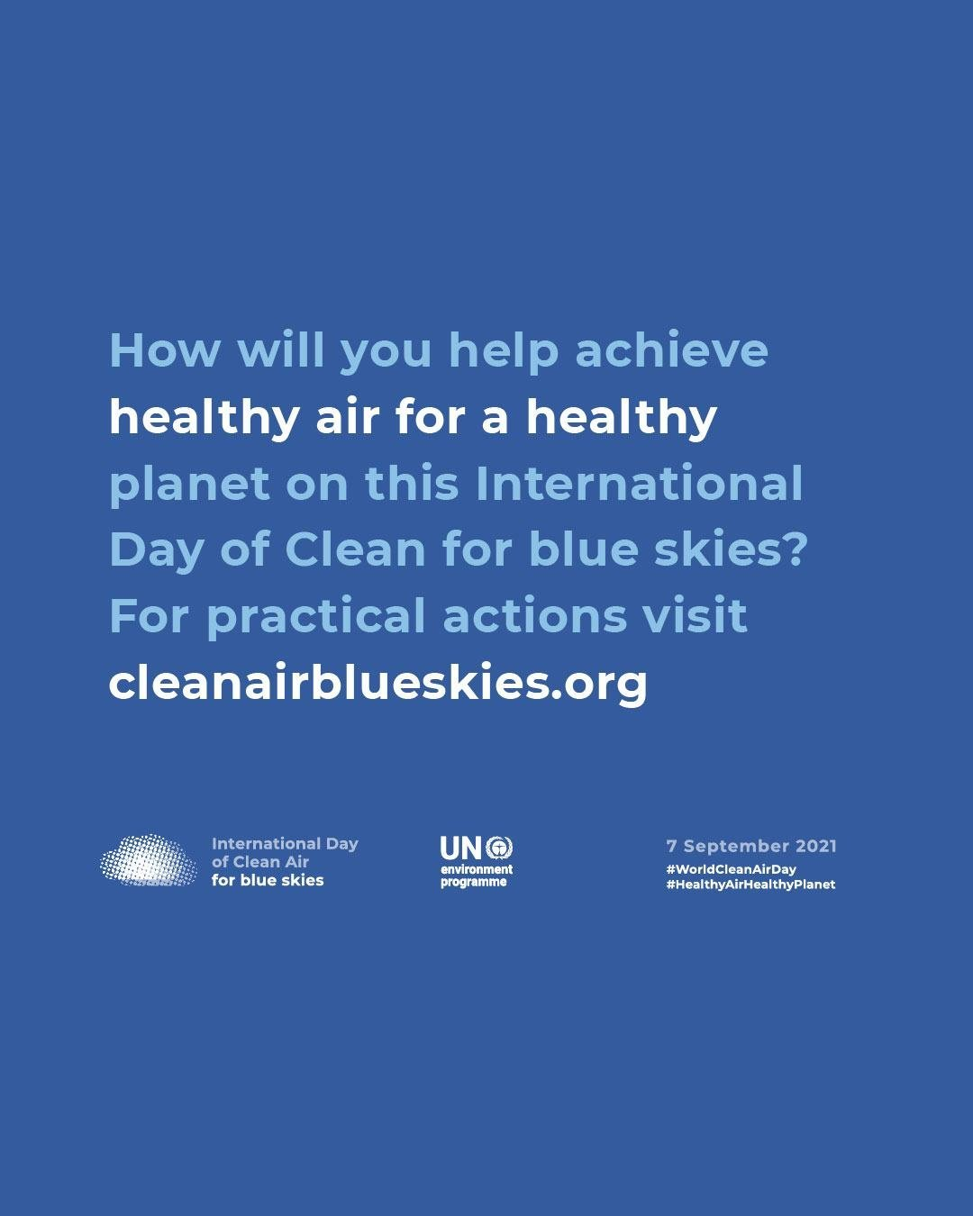 International Day for Clean Air for bluish  skies