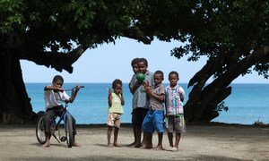 Children play on the beach in Epi island, Vanuatu, an archipelago in the western Pacific which is home to about 300,000 people.