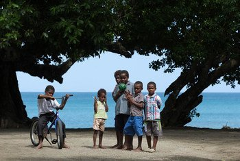 Children play on the beach, on the Epi island, Vanuatu, in the Pacific, a State that is home to around 300,000 people.